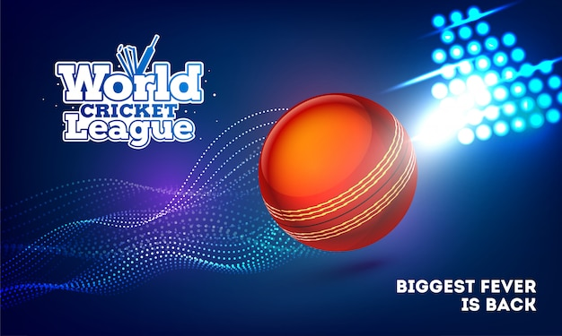Design di banner di world cricket league con palla da cricket sul blu