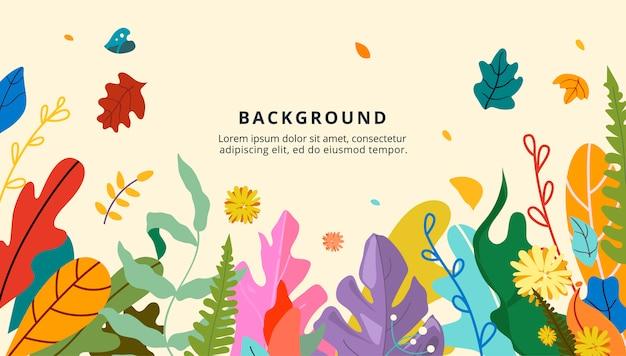 Design di banner floreale, tema autunnale, foglie d'oro e rosse, fiori autunnali e bacche.