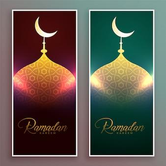 Design di banner moschea incandescente per la stagione di ramadan