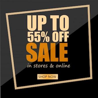Design di banner nero con offerta di sconto fino al 55%