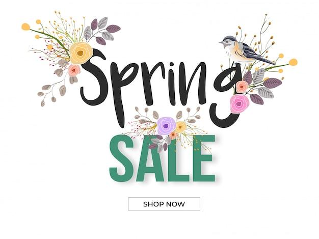 Design di banner o poster di vendita di primavera