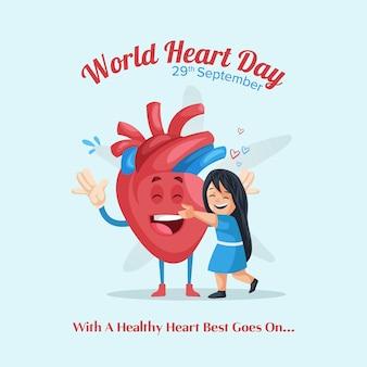 Design di banner per la giornata mondiale del cuore con carattere e ragazza del cuore