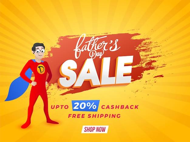 Design di banner per la vendita online di father's day con un super padre con offerte di cashback del 20%.