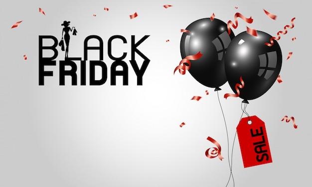 Design di banner venerdì nero di palloncini con etichetta rossa e nastro