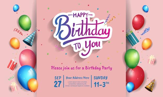 Design di buon compleanno per banner, poster, carta di invito con elemento colorato compleanno