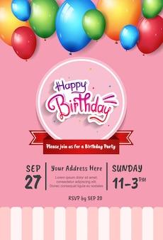 Design di buon compleanno per la celebrazione della festa, poster, banner e sfondo