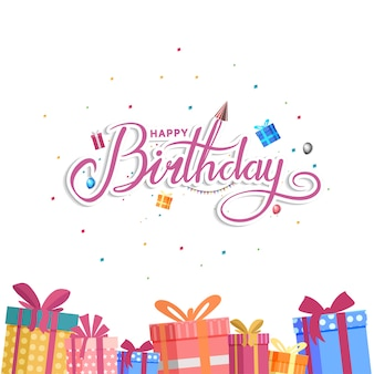 Design di buon compleanno per sfondo, banner e carta di invito