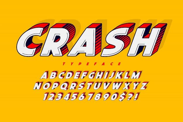 Design di carattere comico alla moda, alfabeto colorato