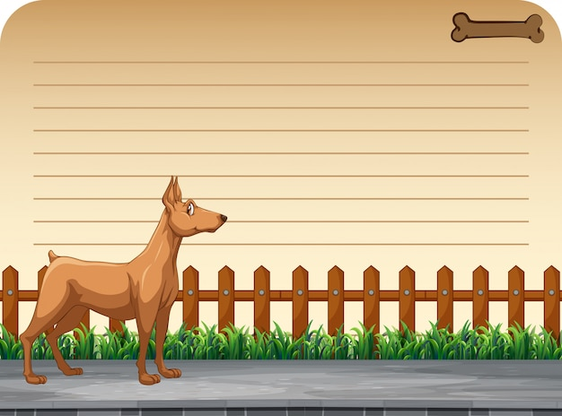 Design di carta con cane sulla strada