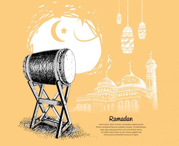 Design di carta da parati del ramadan con moschea e bedug
