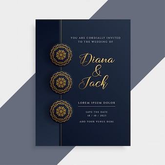 Design di carta di invito di nozze di lusso in colore scuro e oro