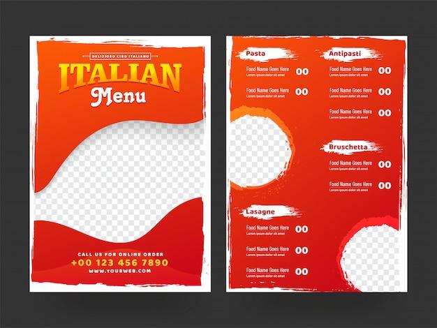 Design di carte menu italiano per ristorante e caffetteria.
