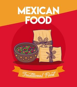 Design di cibo messicano con tamales e bottiglia di salsa