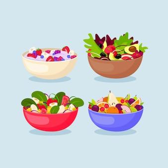 Design di ciotole per frutta e insalata