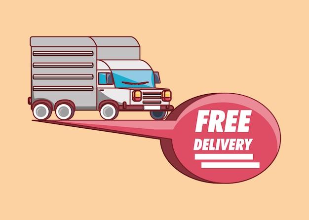 Design di consegna gratuita con camion carico e fumetto