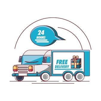 Design di consegna gratuita con camion carico e icona a fumetto