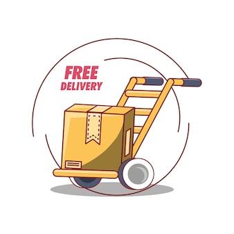Design di consegna gratuita con carretto con icona scatola di cartone