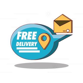 Design di consegna gratuita con icona a fumetto e busta