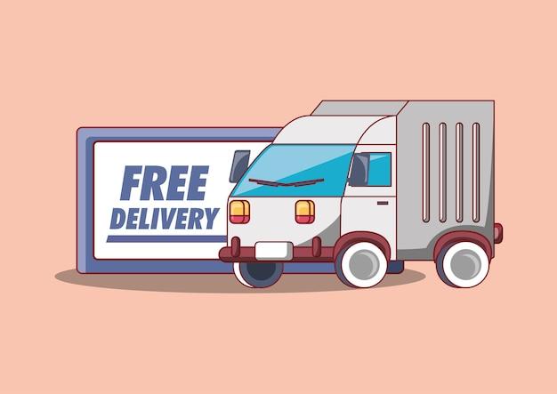 Design di consegna gratuita con icona di camion di carico