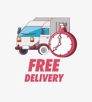 Design di consegna gratuita con icona di camion e cronometro cargo