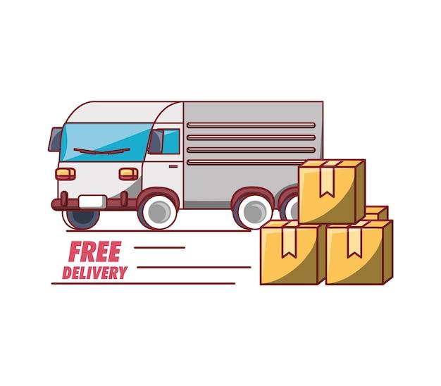 Design di consegna gratuita con icona di scatole di camion e scatole di cartone