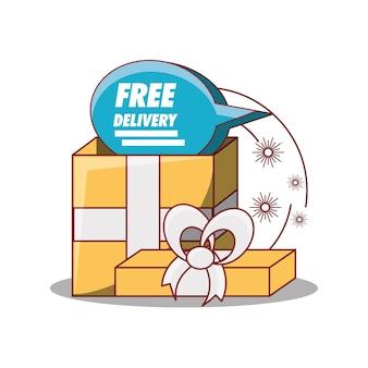 Design di consegna gratuita con icona scatola regalo