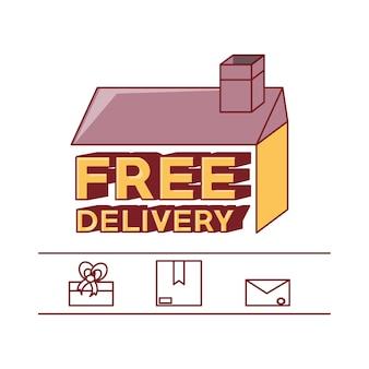 Design di consegna gratuita con icone correlate e icona della casa
