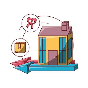 Design di consegna gratuita con l'icona di casa e scatola di cartone