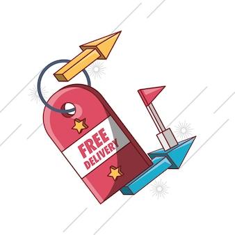 Design di consegna gratuita con tag e icona della freccia