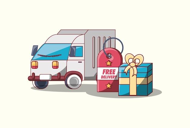 Design di consegna gratuito con camion di carico e confezione regalo