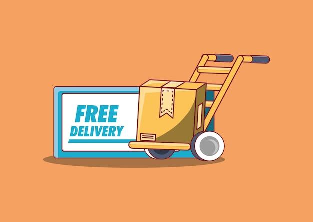 Design di consegna gratuito con carrello a mano con scatola di cartone