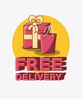 Design di consegna gratuito con confezione regalo e shopping bag