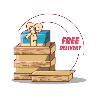 Design di consegna gratuito con confezione regalo in scatola di legno