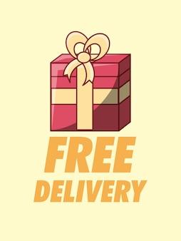 Design di consegna gratuito con confezione regalo