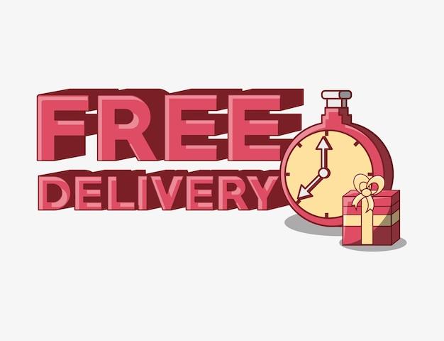 Design di consegna gratuito con cronometro e confezione regalo