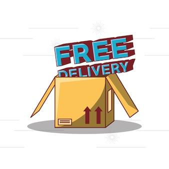 Design di consegna gratuito con icona scatola di cartone