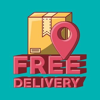 Design di consegna gratuito con pin di posizione e scatola di cartone