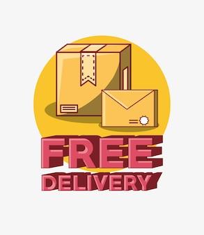 Design di consegna gratuito con scatola di cartone e icona della busta