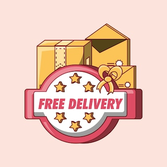 Design di consegna gratuito con scatole di cartone e buste