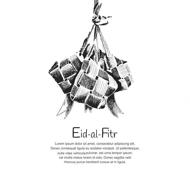 Design di eid al fitr con ketupat