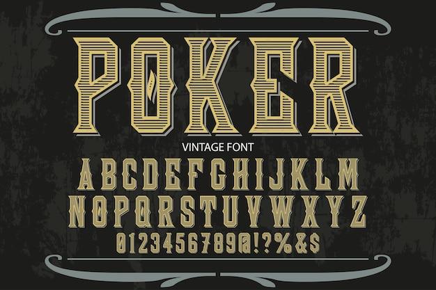 Design di etichetta alfabeto poker