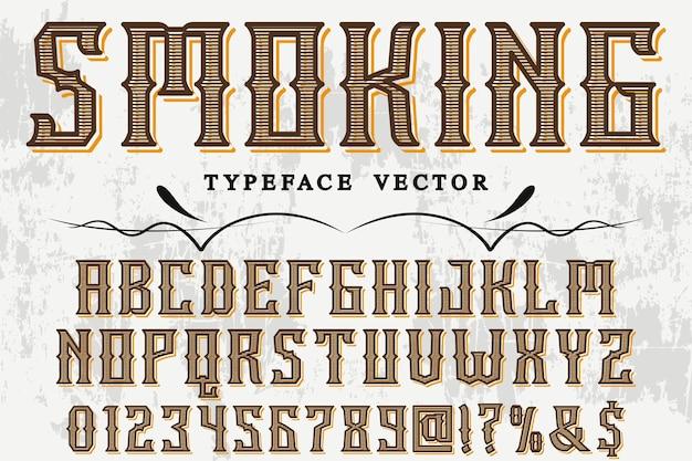 Design di etichetta di carattere tipografico fumo