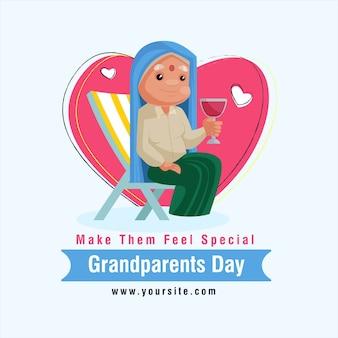 Design di felice festa dei nonni. l'anziana è seduta su una sedia e tiene in mano un bicchiere.