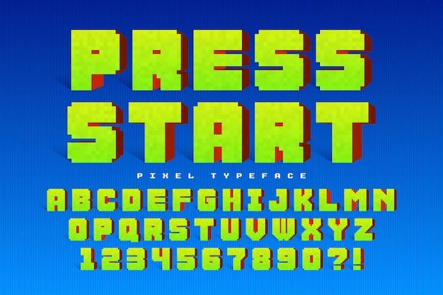 Design di font pixel vettoriale, stilizzato come nei giochi a 8 bit