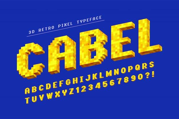 Design di font pixel vettoriale, stilizzato come nei giochi a 8 bit.