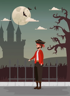 Design di halloween con pirata e castello