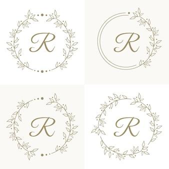 Design di lusso lettera r logo con modello di sfondo cornice floreale