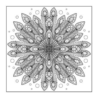 Design di mandala di piume di pavone per libro da colorare