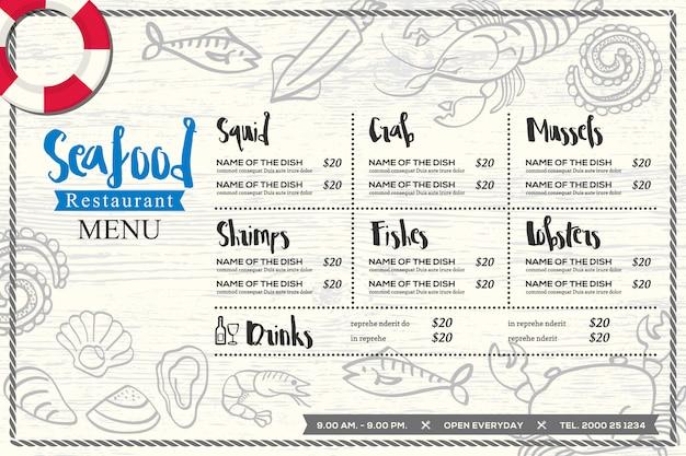 Design di menu tovaglietta ristorante di pesce
