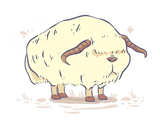 Design di mucca in stile cartone animato. illustrazione vettoriale di mucca